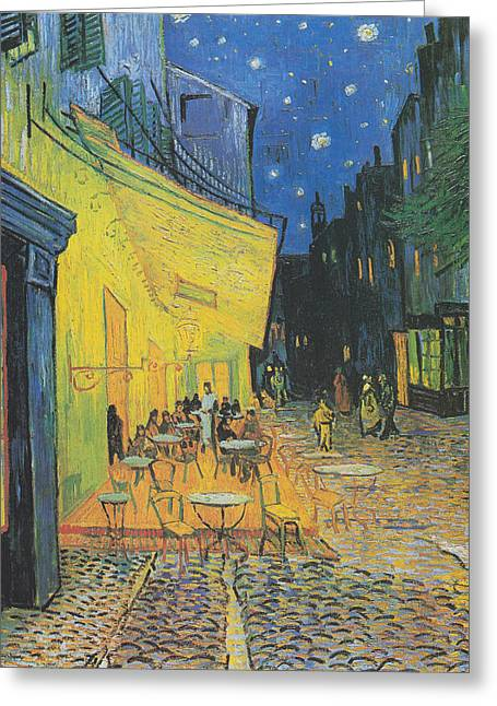 Vincent Van Gogh's Cafe Terrace At Night Greeting Card by Vincent van Gogh