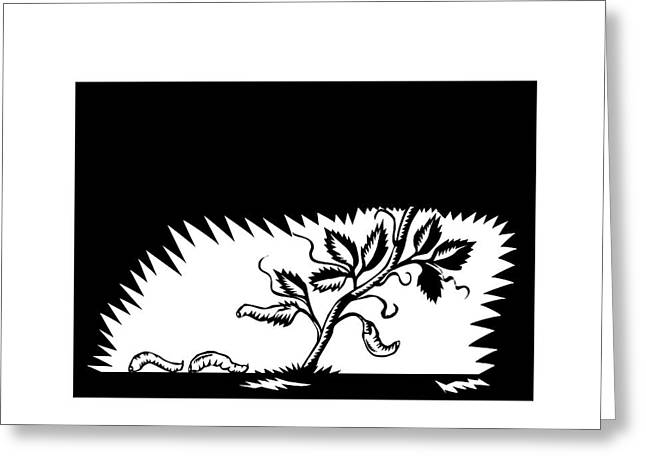 Vine Leaves Morphing Maggots Woodcut Greeting Card by Aloysius Patrimonio