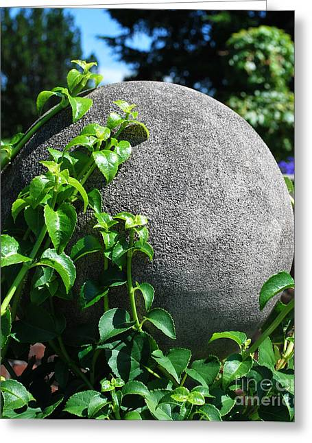 Concrete Sculpture Greeting Cards - Vines and Sphere Greeting Card by Nancy Mueller