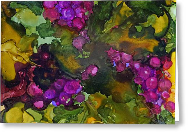 Alcohol Inks Greeting Cards - Vines of Grapes Greeting Card by Joanne Smoley