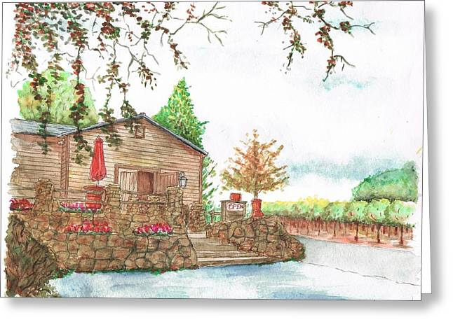 California Vineyard Paintings Greeting Cards - Vineyard -1-Sonoma-CA Greeting Card by Carlos G Groppa