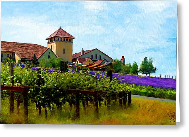 Blue Grapes Greeting Cards - Vineyard and heather Greeting Card by Debra Baldwin