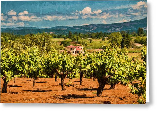 Vineyard Estate Greeting Card by John K Woodruff