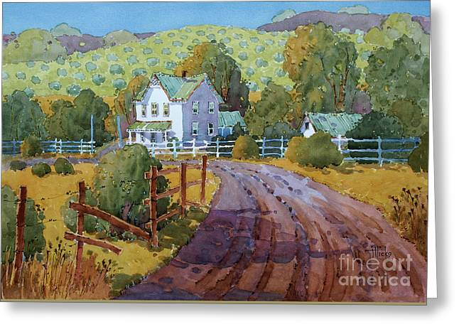 Vineyard Farm In Cambria Greeting Card by Joyce Hicks