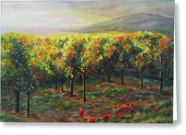 Red Wine Prints Greeting Cards - Vineyard Glow Greeting Card by Becky Chappell