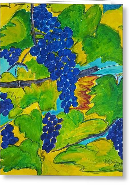 Blue Grapes Greeting Cards - Vineyard Green 2 Greeting Card by Nancy Martins