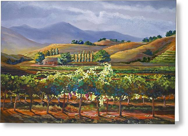 California Vineyard Paintings Greeting Cards - Vineyard in California Greeting Card by Heather Coen
