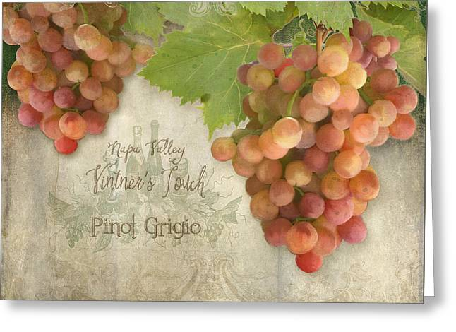 Napa Paintings Greeting Cards - Vineyard - Napa Valley Vintners Touch Pinot Grigio Grapes  Greeting Card by Audrey Jeanne Roberts