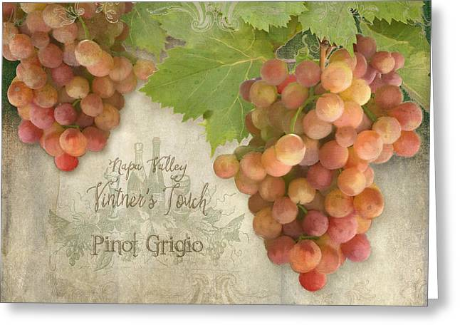 Wine Lovers Greeting Cards - Vineyard - Napa Valley Vintners Touch Pinot Grigio Grapes  Greeting Card by Audrey Jeanne Roberts