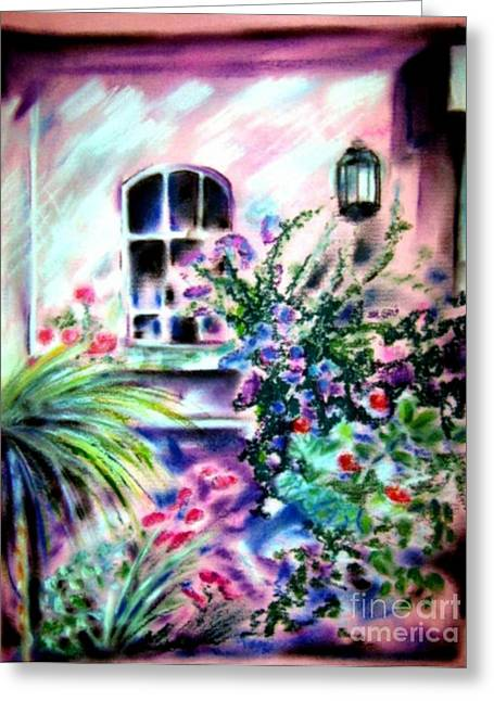 Napa Valley Vineyard Pastels Greeting Cards - Vineyard Patio Greeting Card by Sandy Ryan