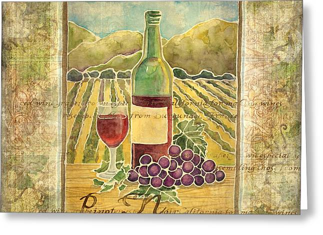 Goblet Greeting Cards - Vineyard Pinot Noir Grapes n Wine - Batik Style Greeting Card by Audrey Jeanne Roberts
