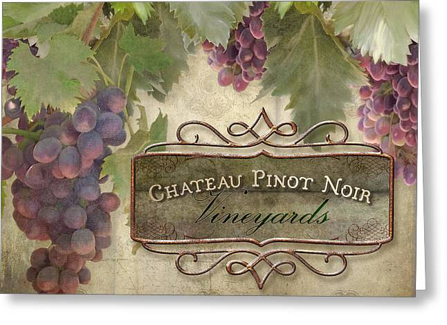Pinot Noir Greeting Cards - Vineyard Series - Chateau Pinot Noir Vineyards Sign Greeting Card by Audrey Jeanne Roberts