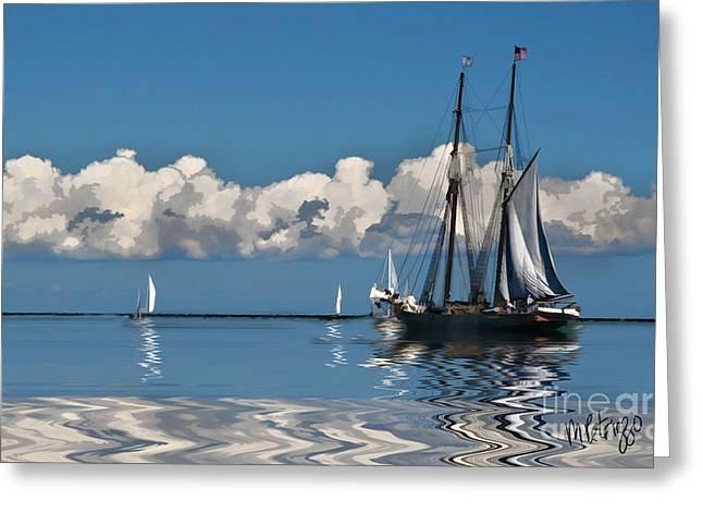 Sailboat Ocean Digital Greeting Cards - Vineyard Sound Greeting Card by Michael Petrizzo