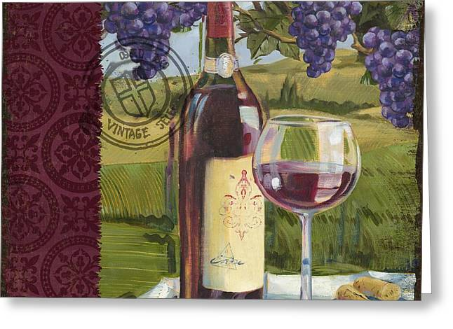 Vineyard Wine Tasting Collage I Greeting Card by Paul Brent