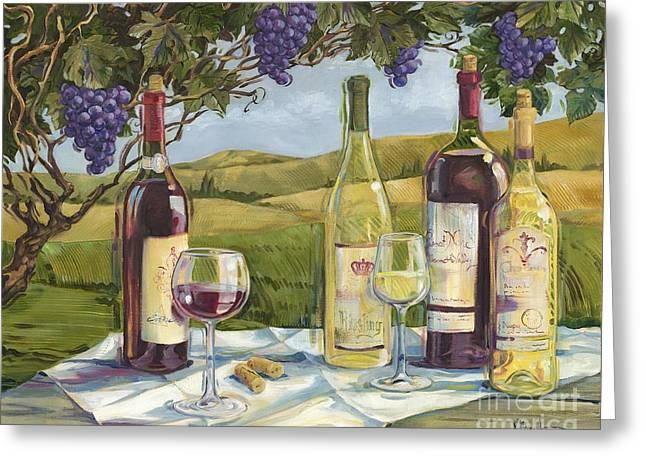 Vineyard Wine Tasting Greeting Card by Paul Brent