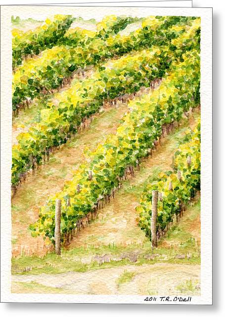 Calistoga Paintings Greeting Cards - Vineyard6 Small Greeting Card by TR O