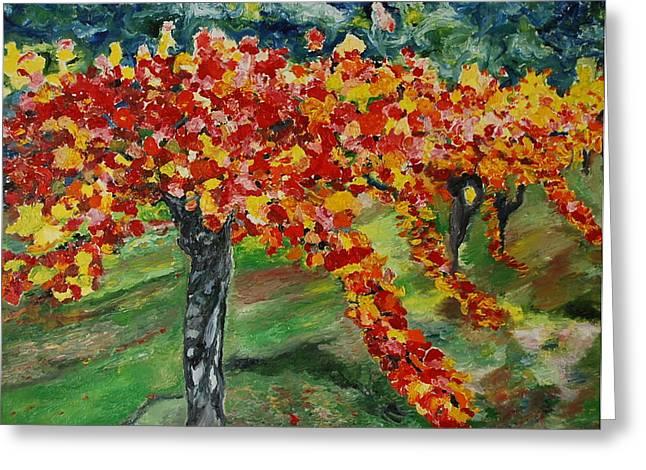 Vineyard Landscape Paintings Greeting Cards - Vineyards in Napa Greeting Card by Dorota Nowak