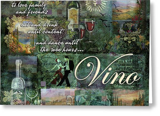 Wine-bottle Digital Greeting Cards - Vino Greeting Card by Evie Cook