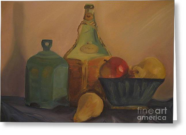 Decanters Paintings Greeting Cards - Vino Greeting Card by Roberta Voss