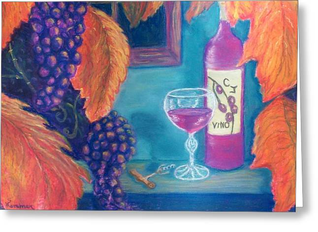 Grape Leaves Pastels Greeting Cards - Vino Greeting Card by Sandy Hemmer