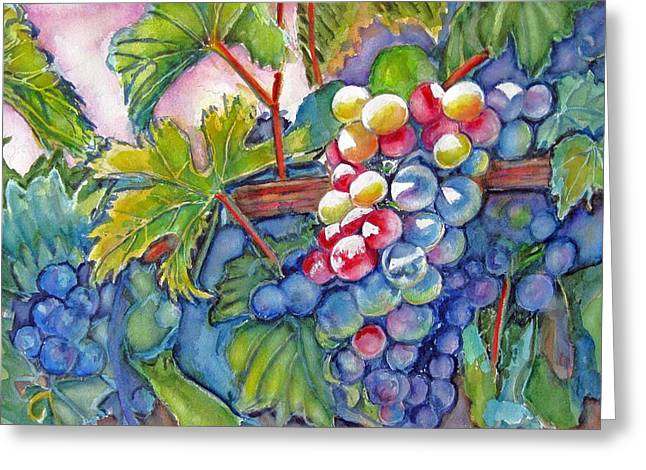 Grape Vines Paintings Greeting Cards - VIno Veritas II Greeting Card by June Conte  Pryor