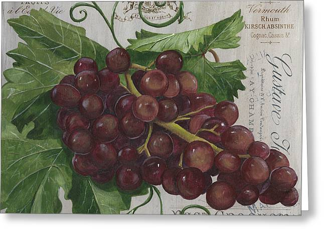 Grape Vines Paintings Greeting Cards - Vins de Champagne Greeting Card by Debbie DeWitt