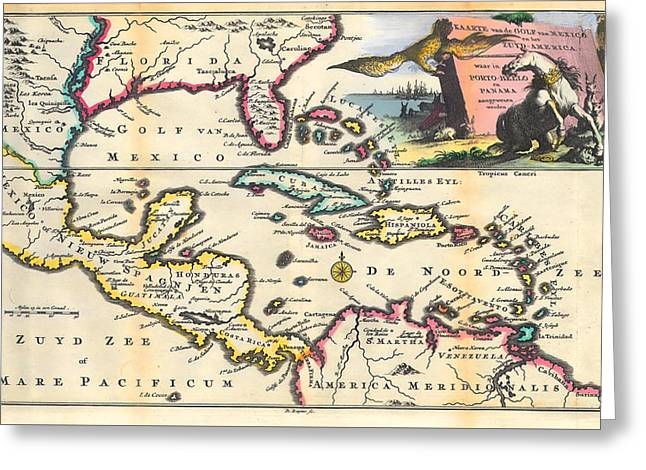 Motel Art Greeting Cards - Vintage 1747 Gulf of Mexico Map Greeting Card by Stephen Stookey