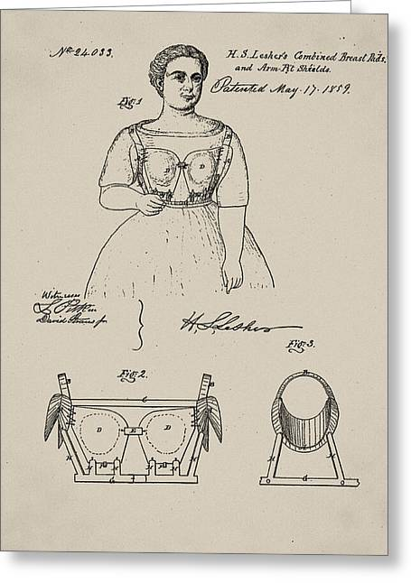 Corset Dresses Greeting Cards - Vintage 1859 Brassiere Patent in Sepia Greeting Card by Bill Cannon