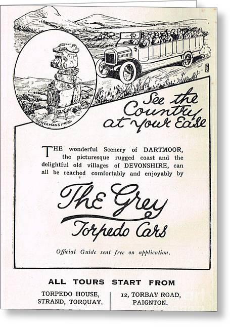 1907 Greeting Cards - Vintage 1907 Charabanc advert Torquay Greeting Card by David Carton