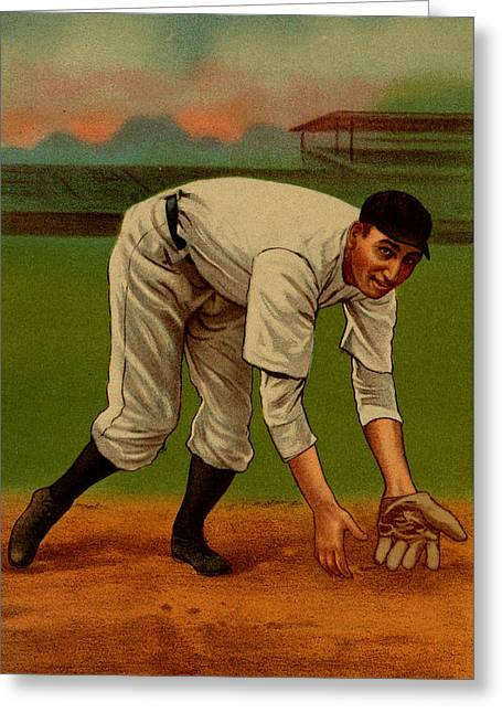 Baseball Art Greeting Cards - Vintage 1910 - 1911 Baseball Card #02 Greeting Card by Just Eclectic