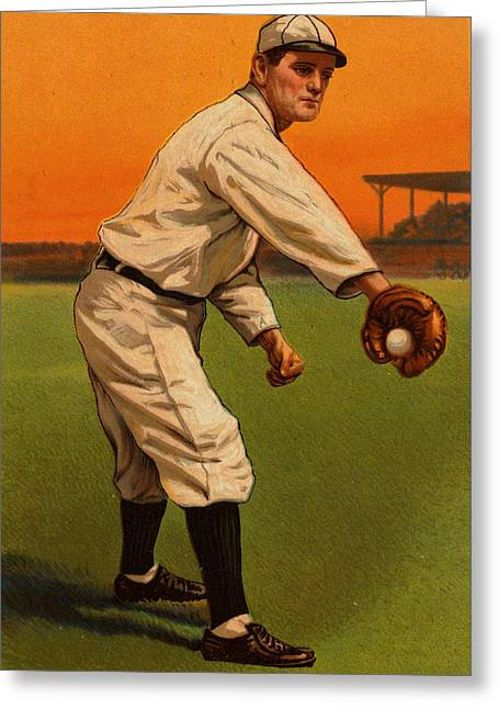 Player Drawings Greeting Cards - Vintage 1910 - 1911 Baseball Card #05 Greeting Card by Just Eclectic