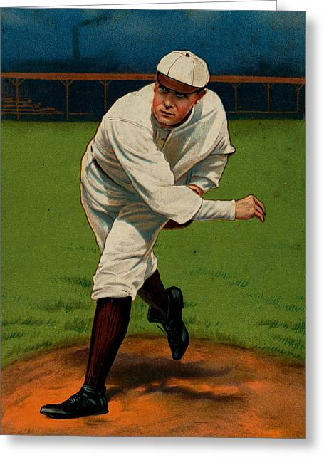 Player Drawings Greeting Cards - Vintage 1910 - 1911 Baseball Card #06 Greeting Card by Just Eclectic