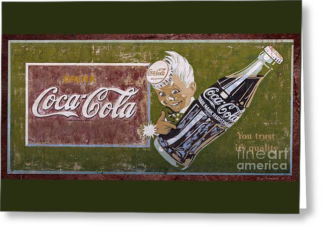Soda Bottles Greeting Cards - Vintage 1916 Hand Painted Coca Cola Sign Greeting Card by John Stephens
