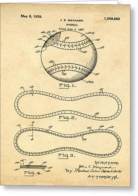 Vintage 1928 Baseball Patent In Sepia Greeting Card by Bill Cannon