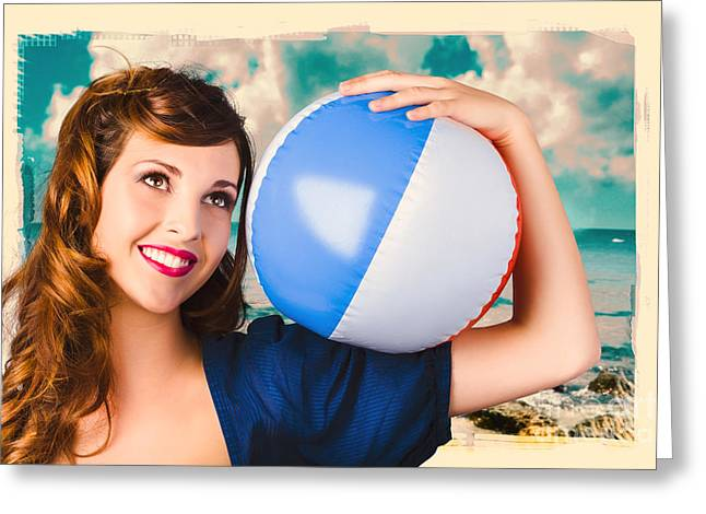 Youthful Greeting Cards - Vintage 1950 era pin-up woman with beach ball Greeting Card by Ryan Jorgensen