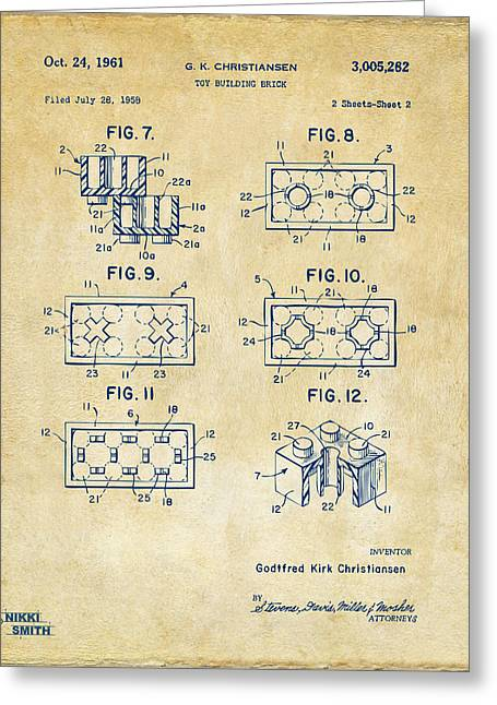 Kids Room Drawings Greeting Cards - Vintage 1961 LEGO Brick Patent Art Greeting Card by Nikki Marie Smith