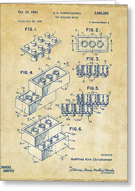 Toys Greeting Cards - Vintage 1961 Toy Building Brick Patent Art Greeting Card by Nikki Marie Smith