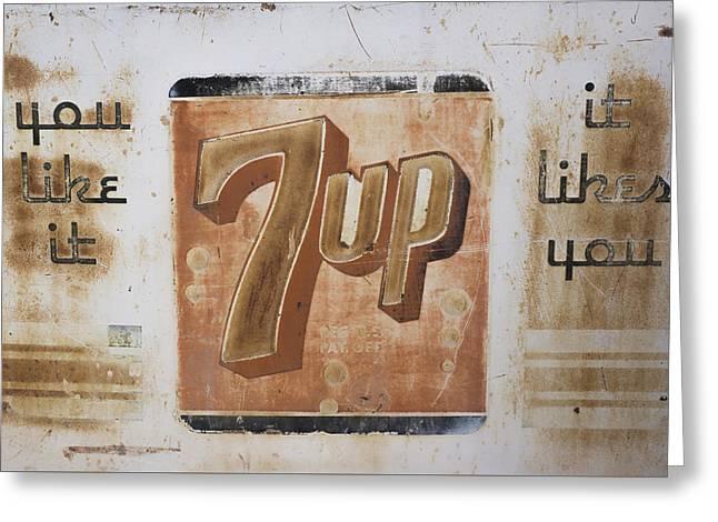 Vintage 7 Up Sign Greeting Card by Christina Lihani