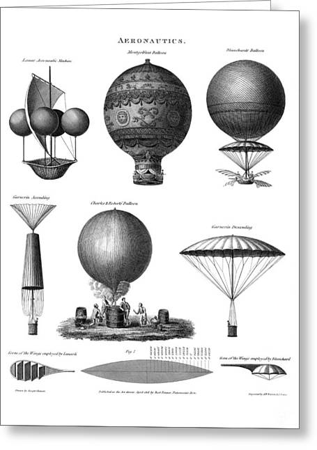 Vintage Aeronautics - Early Balloon Designs Greeting Card by War Is Hell Store