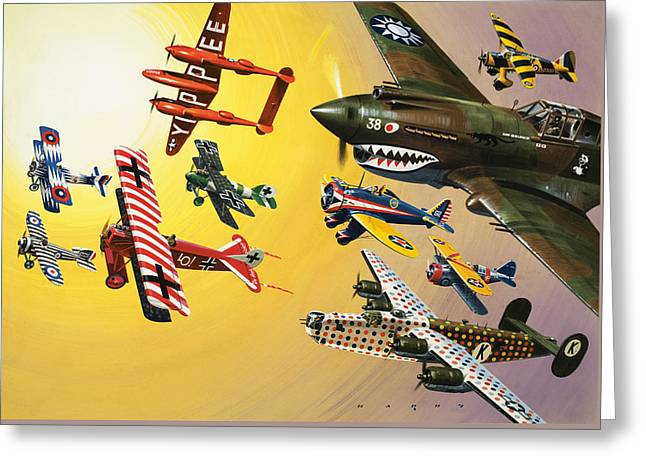 Vintage Aircraft Montage Greeting Card by Wilf Hardy