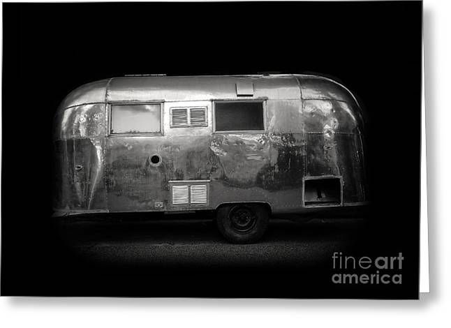 Vintage Airstream Travel Camper Trailer Square Greeting Card by Edward Fielding