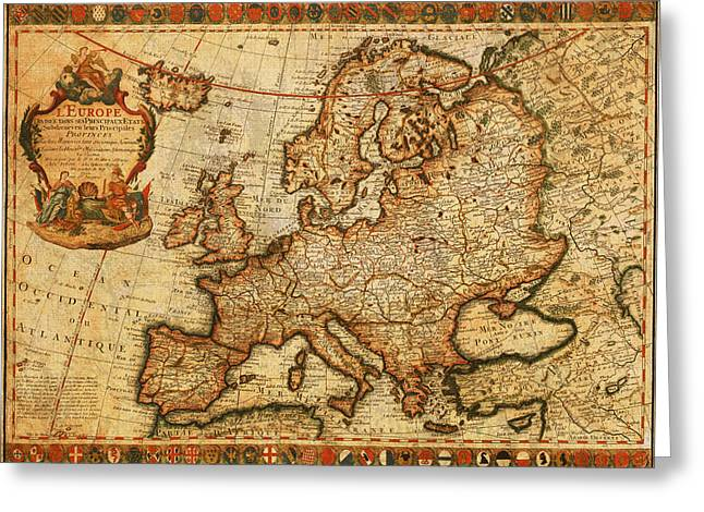 Europe Mixed Media Greeting Cards - Vintage Antique Map of Europe French Origin Circa 1700 on Worn Distressed Parchment Canvas Greeting Card by Design Turnpike
