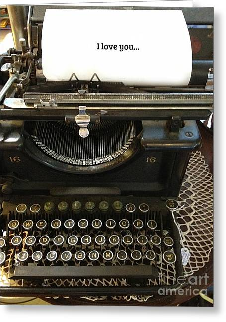 Typewriter Keys Photographs Greeting Cards - Vintage Antique Typewriter - Inspirational Vintage Typewriter  Greeting Card by Kathy Fornal