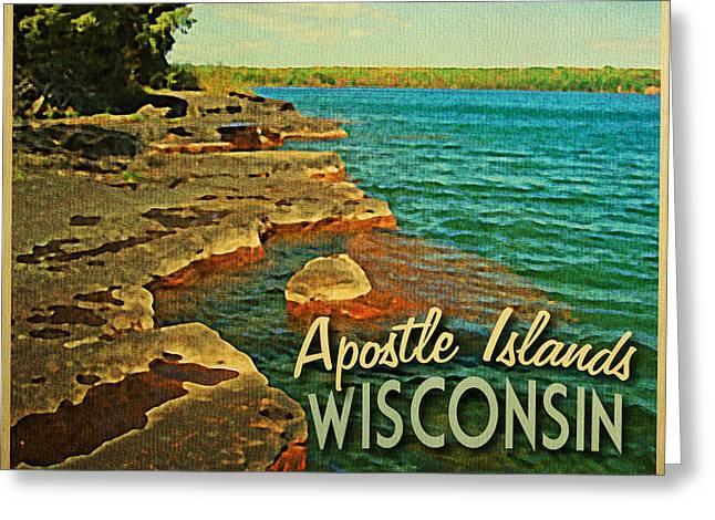 Lakeshore Greeting Cards - Vintage Apostle Islands Wisconsin Greeting Card by Flo Karp