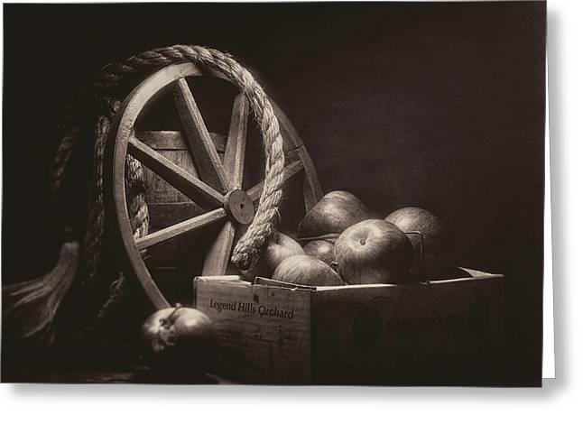 Vintage Apple Basket Still Life Greeting Card by Tom Mc Nemar