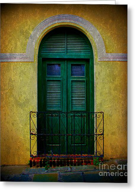 Screen Door Greeting Cards - Vintage Arched Door Greeting Card by Perry Webster