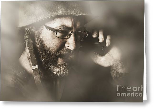 Vintage Army Soldier With Modern Mobile Technology Greeting Card by Jorgo Photography - Wall Art Gallery