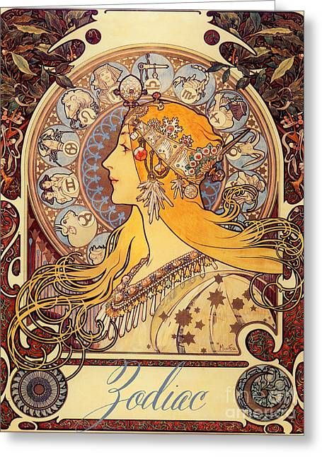 Vintage Art Nouveau Zodiac Greeting Card by Mindy Sommers