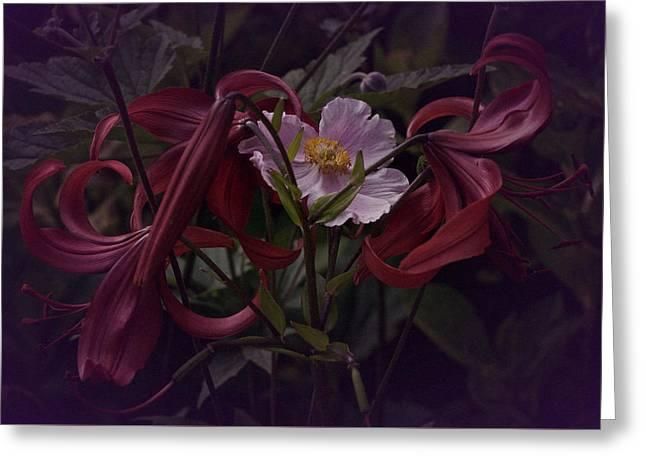 Enhanced Greeting Cards - Vintage Asiatic Lilies  Greeting Card by Richard Cummings