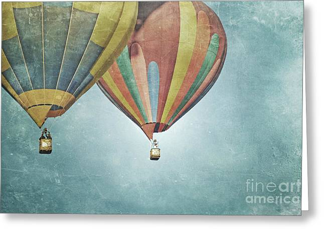 Balloon Fiesta Greeting Cards - Vintage Balloon Pair Greeting Card by Andrea Hazel Ihlefeld